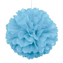 Light Blue Tissue Paper Pom Pom, 16""
