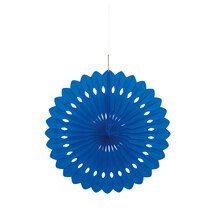Royal Blue Tissue Paper Fan Decoration, 16""