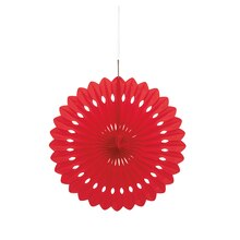 Red Tissue Paper Fan Decoration, 16""