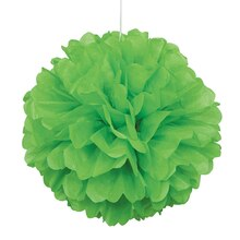 Lime Green Tissue Paper Pom Pom, 16""