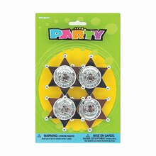 Plastic Sheriff Badge Party Favors, 4ct