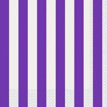Neon Purple Striped Luncheon Napkins, 16ct