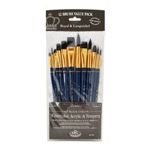 Royal & Langnickel Zip N' Close Black Taklon Round Brush Set