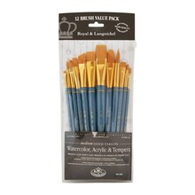 Royal & Langnickel Zip N' Close Gold Taklon Flat Brush Set