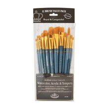 Royal & Langnickel Zip N' Close Gold Taklon Angle Brush Set