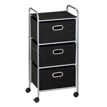 Honey-Can-Do 3-Drawer Rolling Fabric Cart, Black