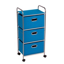 Honey-Can-Do 3-Drawer Rolling Fabric Cart, Blue