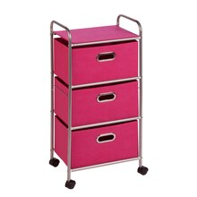 Honey-Can-Do 3-Drawer Rolling Fabric Cart, Pink