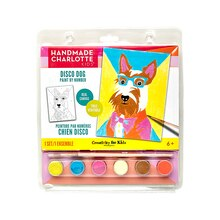 Handmade Charlotte Kids Paint By Number Kit, Disco Dog Package