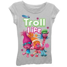 Trolls Heather Gray Youth T-Shirt, Troll Life
