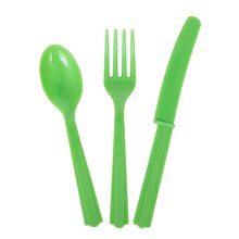 Assorted Plastic Cutlery Set for 8, Lime Green