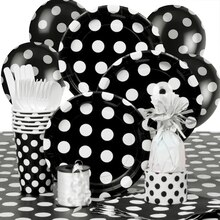 Black Polka Dot Party Supplies Kit for 8