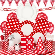 Deluxe Red Polka Dot Party Supplies Kit for 8