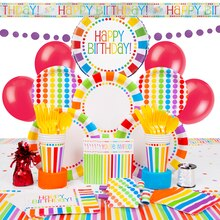 Deluxe Rainbow Party Supplies Kit for 8