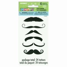 Mustache Tattoo Sheets, 4ct
