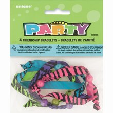 Zebra Stripe Friendship Bracelet Party Favors, Assorted 4ct