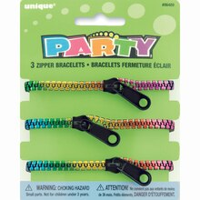 Multicolor Metallic Zipper Bracelet Party Favors, 3ct