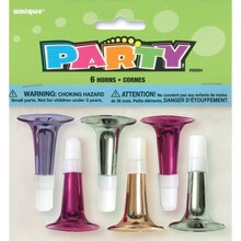 Mini Horn Party Favors, Assorted 6ct