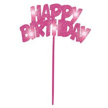 Flashing Pink Happy Birthday Decorative Pick