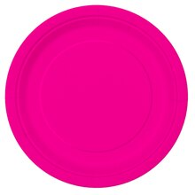 "9"" Neon Pink Party Plates, 16ct"