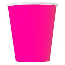 9oz Neon Pink Paper Cups, 8ct