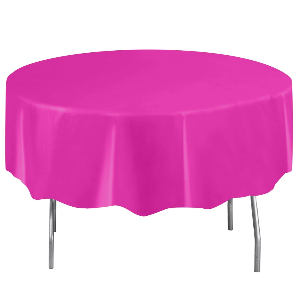 Plastic Neon Pink Round Table Cover