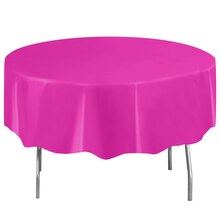 Round Plastic Neon Pink Tablecloth, 84""