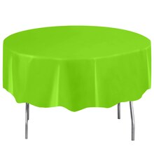 """Round Plastic Neon Green Tablecloth, 84"""""""