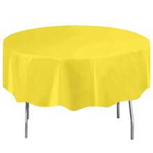 Round Plastic Neon Yellow Tablecloth, 84""