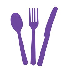 Assorted Plastic Cutlery Set for 6, Neon Purple