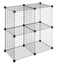 Whitmor Set of 4 Wire Storage Cubes, Black