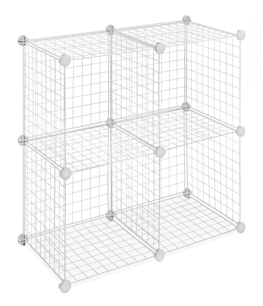 whitmor set of 4 wire storage cubes  white