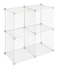 Whitmor Set of 4 Wire Storage Cubes, White
