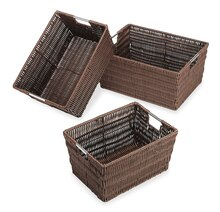 Whitmor Set of 3 Rattique Storage Baskets, Java