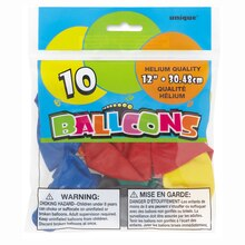 "12"" Latex Multicolor Balloons, Assorted 10ct"
