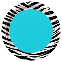 "7"" Teal Zebra Print Party Plates, 8ct"