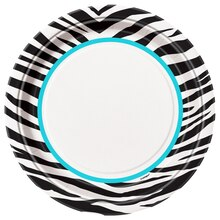 "9"" Teal Zebra Print Party Plates, 8ct"