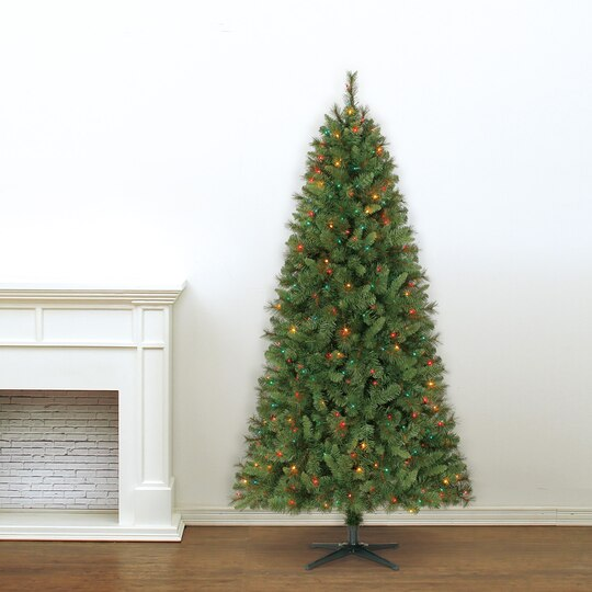 7 Ft. Pre-Lit Green Willow Pine Artificial Christmas Tree, Multicolor  Lights by Ashland