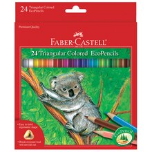 Faber-Castell Triangular Colored EcoPencils, 24 Pieces In Package