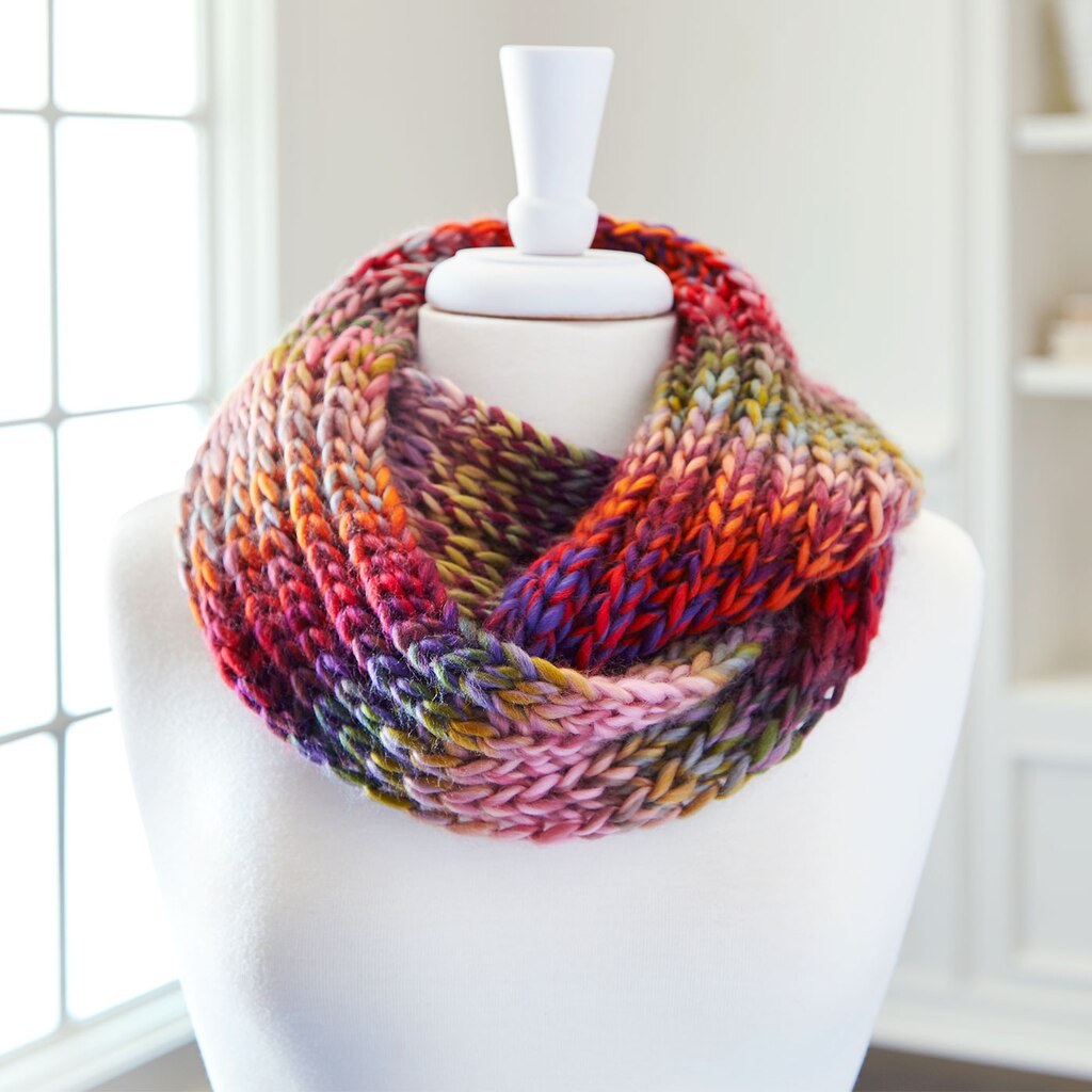 Loops And Threads Knitting Patterns : Loops threads� facets infinity knit scarf