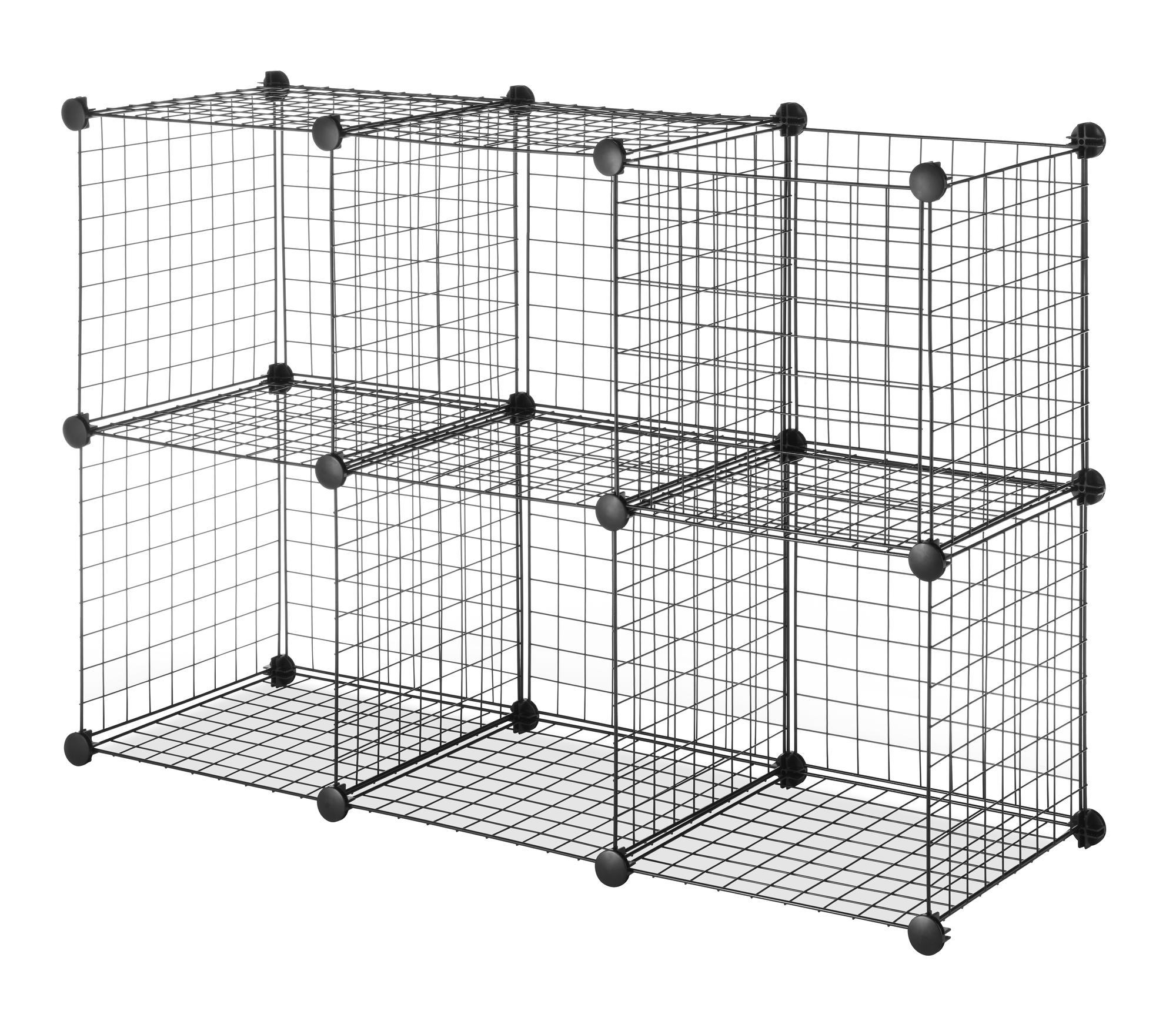 Whitmor Set Of 6 Wire Storage Cubes, Black