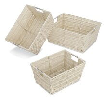 Whitmor Set of 3 Rattique Storage Baskets, Latte