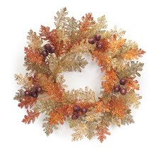 "32"" Glittered Oak Wreath, medium"