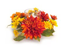 "16"" Mum and Daisy Centerpiece Candle Holder"