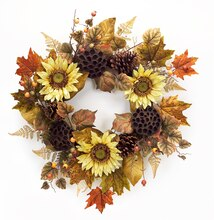 "24"" Sunflower and Lotus Wreath"