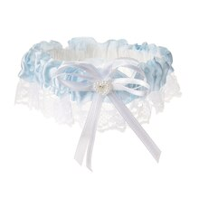 Victoria Lynn Lt. Blue Satin Garter with White Lace Trim