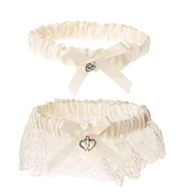 Victoria Lynn Satin & Lace Wedding Garter Set, Cream