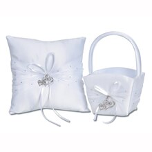 Victoria Lynn White Wedding Basket & Pillow Set, Double Heart Charms