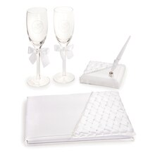 Victoria Lynn Woven Ribbon Wedding Guestbook & Wine Glass Set
