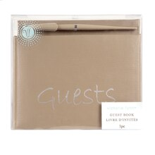 Victoria Lynn Taupe Guestbook & Pen